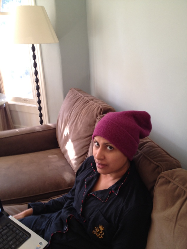 Caught off guard - blogging in my cozies on the couch