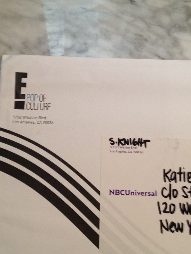 Envelope from Sarah Knight at E! DIE!